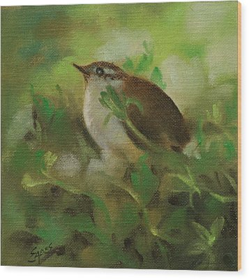 Baby Carolina Wren Wood Print