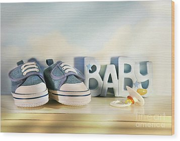 Baby Denim Shoes Wood Print by Sandra Cunningham