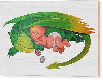 Baby Dragon Wood Print by Harm  Plat