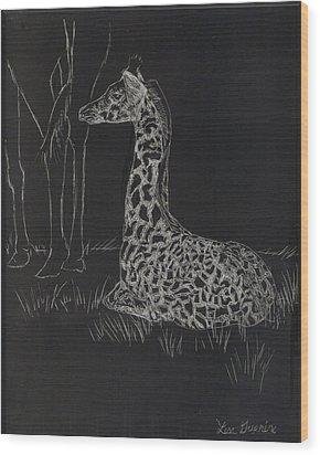 Baby Giraffe Wood Print by Lisa Guarino