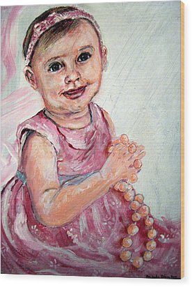 Wood Print featuring the painting Baby Girl 2 by Amanda Dinan