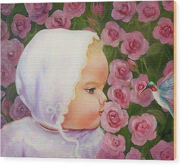 Baby Meets Hummingbird Wood Print by Joni McPherson