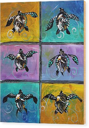 Baby Sea Turtles Six Wood Print by J Vincent Scarpace