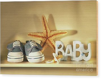 Baby Shoes On The Shelf Wood Print by Sandra Cunningham