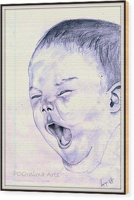 Baby-yawning Wood Print by Poornima M