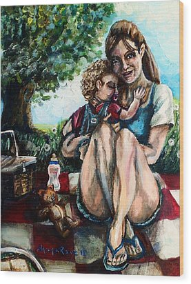 Baby's First Picnic Wood Print by Shana Rowe Jackson