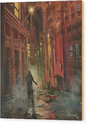 Back Alley Justice Wood Print by Tom Shropshire