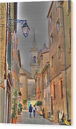 Back Streets Of Sanary Wood Print by Rod Jones