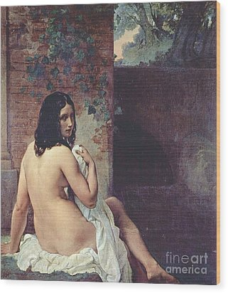 Back View Of A Bather Wood Print by Pg Reproductions