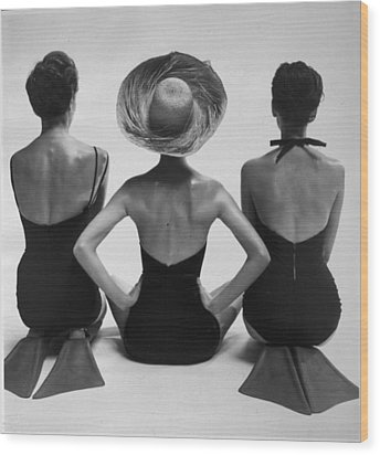 Back View Of Fashion Models In Swim Wood Print by Everett