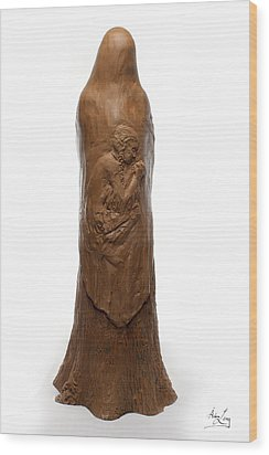 Back View Of Saint Rose Philippine Duchesne Sculpture Wood Print by Adam Long