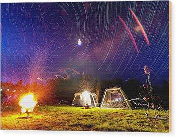 Back Yard Camping Wood Print by Aaron Priest