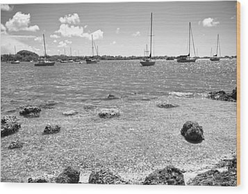 Background Sailboats Wood Print by Betsy Knapp