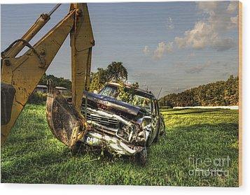 Backhoe Pulling Car Out Of Field Wood Print by Dan Friend