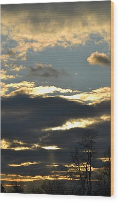 Backlit Clouds Wood Print