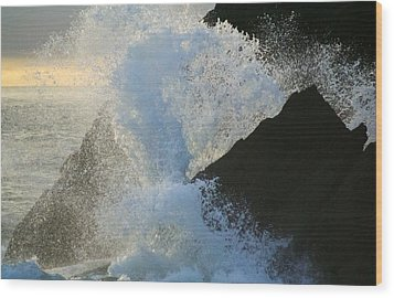 Backlit Wave 2 Wood Print by Michael Courtney