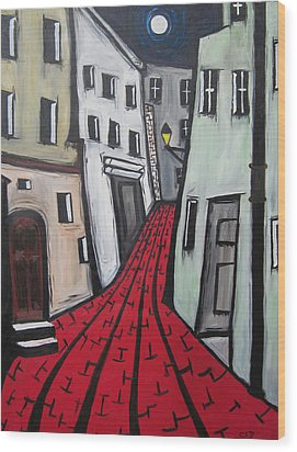 Wood Print featuring the painting Backstreets by Cheryl Pettigrew