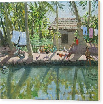 Backwaters India  Wood Print by Andrew Macara