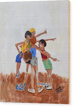 Backyard Basketball Wood Print
