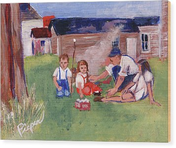 Backyard Picnic In Rural Grove Wood Print by Elzbieta Zemaitis