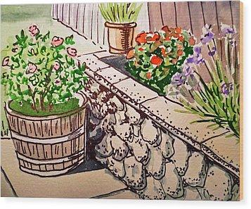 Backyard Sketchbook Project Down My Street Wood Print by Irina Sztukowski