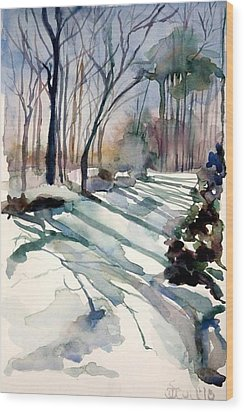 Backyard Snow Wood Print by Judith Scull