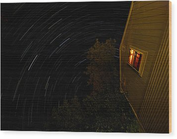 Backyard Star Trails Wood Print by Mike Horvath