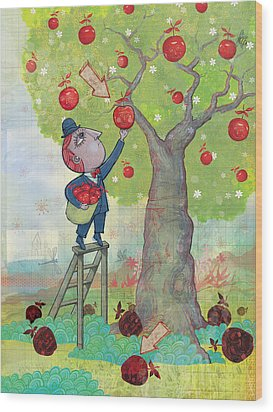 Bad Apples Good Apples Wood Print by Dennis Wunsch