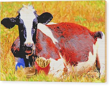 Bad Cow . 7d1279 Wood Print by Wingsdomain Art and Photography