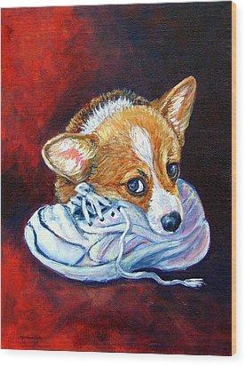 Bad Puppy - Pembroke Welsh Corgi Wood Print by Lyn Cook