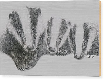 Badgers Wood Print by Lucy D