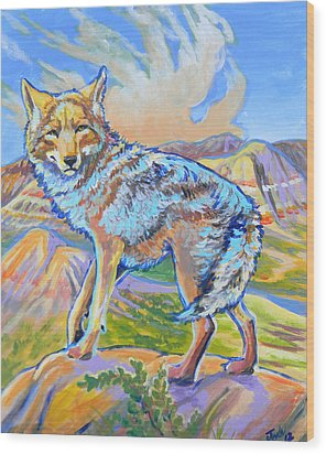 Wood Print featuring the painting Badland Coyote by Jenn Cunningham