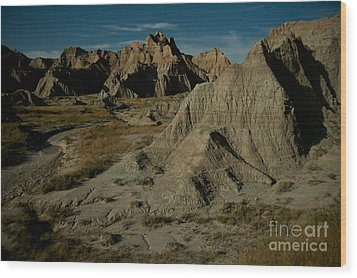 Badlands By Moonlight Wood Print by Chris Brewington Photography LLC