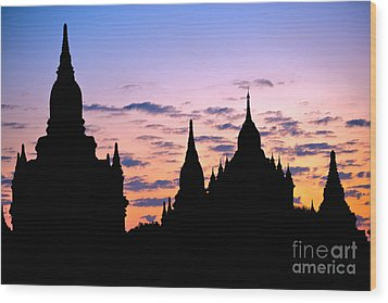 Wood Print featuring the photograph Bagan by Luciano Mortula