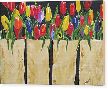 Bagged Tulips Wood Print by Ron LaRue