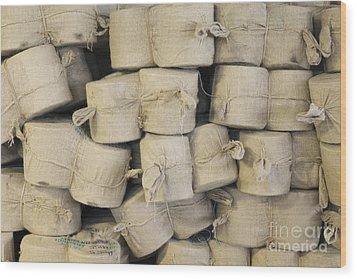 Bags Of Flax Wood Print by Magomed Magomedagaev