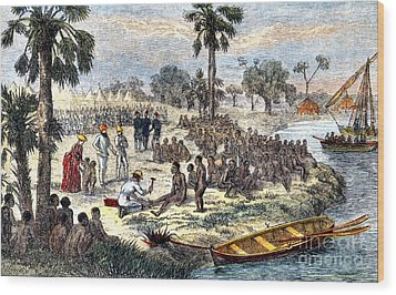 Baker Liberating Slaves In Africa, 1869 Wood Print by Photo Researchers