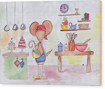 Bakery Mouse Wood Print by Sarah LoCascio