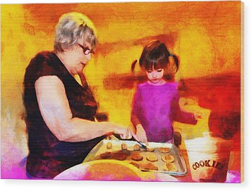Baking Cookies With Grandma Wood Print by Nikki Marie Smith