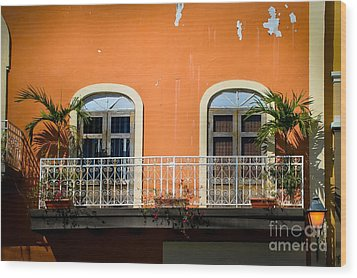 Balcony With Palms Wood Print by Perry Webster