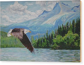 Bald Eagle Fishing Wood Print