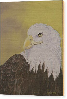 Wood Print featuring the drawing Bald Eagle by Robert Decker