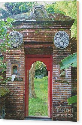 Bali Gate Wood Print by Michelle Matisse