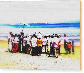 Balinese Beach In Mourning Wood Print by Funkpix Photo Hunter