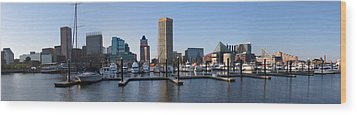 Wood Print featuring the photograph Balitmore Inner Harbor Panorama by Darleen Stry