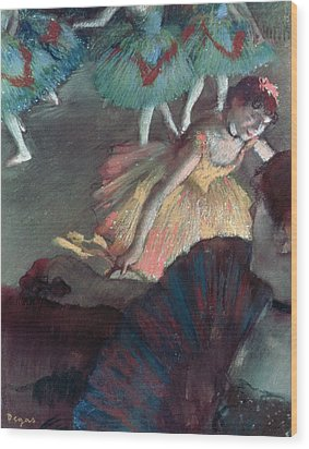 Ballerina And Lady With A Fan Wood Print by Edgar Degas