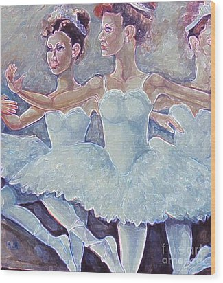 Wood Print featuring the painting Ballerina Dance by Rita Brown