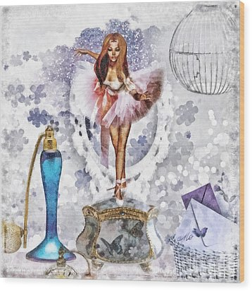 Ballerina Wood Print by Mo T