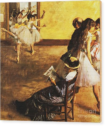 Ballet Class  The Dance Hall Wood Print by Pg Reproductions