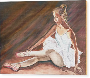 Wood Print featuring the painting Ballet Dancer by Clara Sue Beym